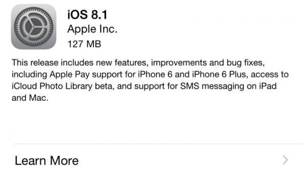 苹果正式推出iOS 8.1系统更新 开启Apple Pay功能